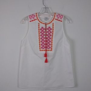 J.CREW White Sleeveless Embroidered Collared Top